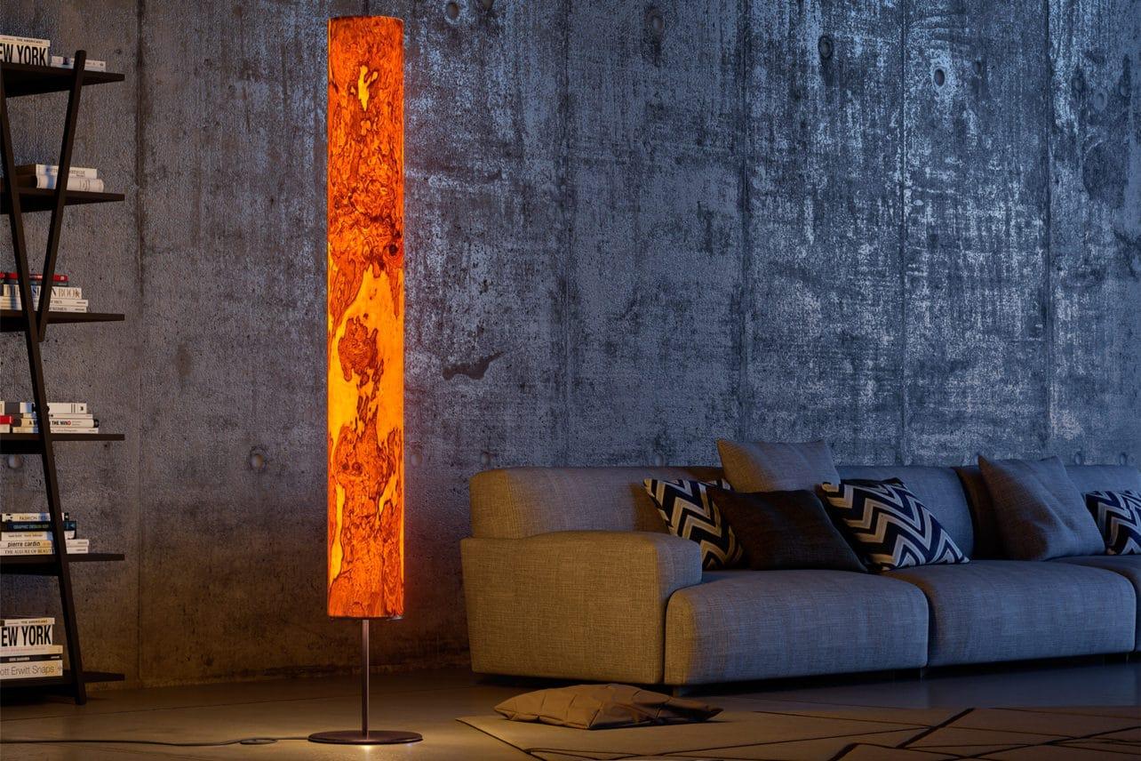 Lichtobjekt, Stehlampe Arbor mit Echtholzfunier