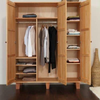 dreitüriger Kleiderschrank BeneVita aus massivem Erlenholz, Innenausstattung