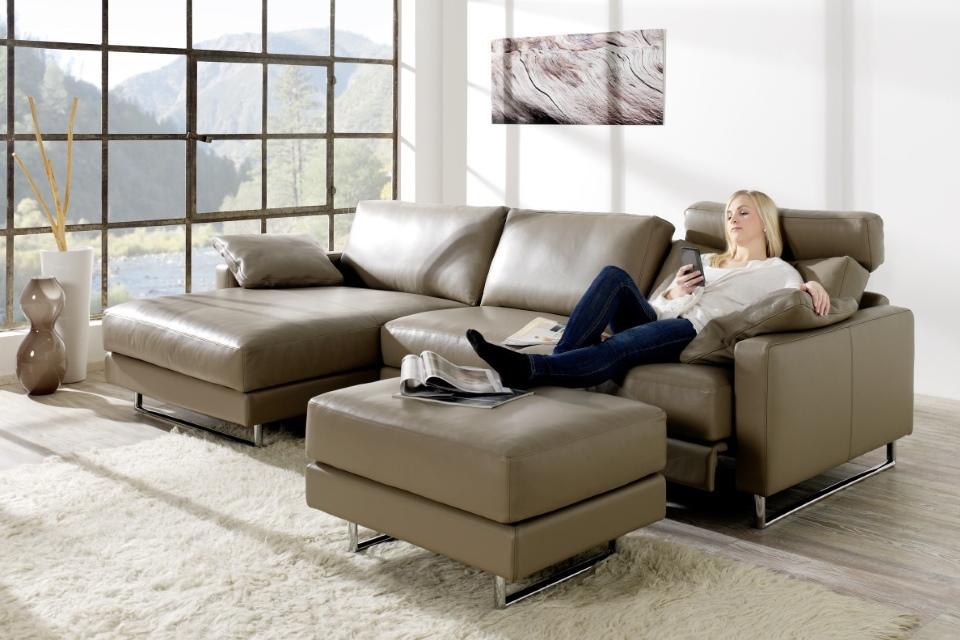 Sofa-Recamiere-RENIVA-Rücken verstellbar- LederVio-Wohnwiese