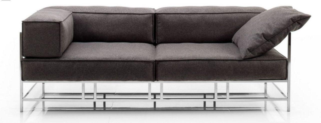 EasyPieces-frontal-Couch-Gestell glänzend-Bezug Wollfilz grau-Brühl-Wohnwiese