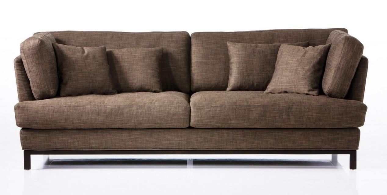 Sofa lang-Carousel-legere Polsterung-Fußgestell HOlz-Bezug Leinen-Brühl-Wohnwiese
