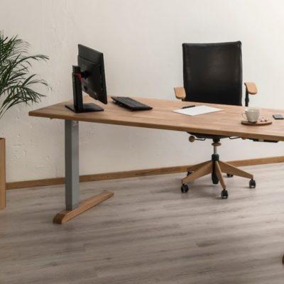 Rechteckiger höhenverstellbarer Schreibtisch Manhattan in Buche massiv