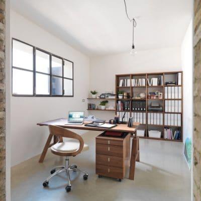 Schreibtisch Atelier mit Container Cubus.