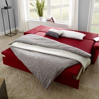 Schlafsofa Cala in Rot, Schlafposition